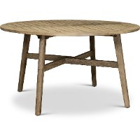 Weathered Gray Eucalyptus Wood Round Patio Table - Glades