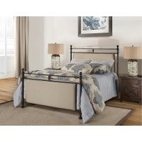 KIT Classic Linen and Brown Queen Metal Bed - Ashley