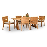 Natural Eucalyptus Rectangular Patio Dining Set - Glades