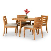 Natural Eucalyptus 5 Piece Patio Dining Set - Glades