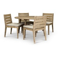 Weathered Gray Round Patio Dining Set - Glades