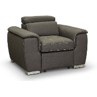 Casual Contemporary Taupe Chair with Pullout Ottoman - Ferriday