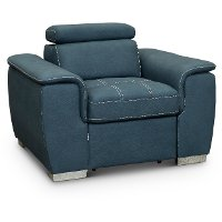 Casual Contemporary Blue Chair with Pullout Ottoman - Ferriday