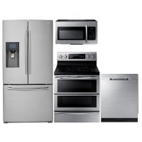 KIT Samsung 4 Piece Kitchen Appliance Package with Electric Ragne - Stainless Steel