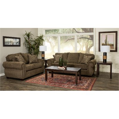 Casual Traditional Canvas Tan 7 Piece Living Room Set Southport