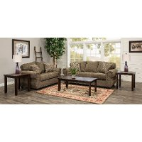 Traditional Brown 7 Piece Living Room Set with Sofa Bed - Southport