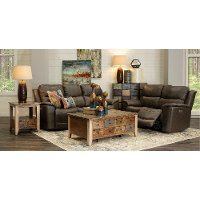 Sable Brown Leather-Match Power Reclining Living Room Set - Cade