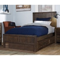 KIT Rustic Contemporary Brown Twin Trundle Bed - St. Croix