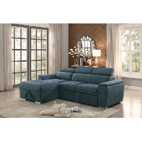 Blue Sectional Sofa with Pullout Sofa Bed and Left-Side Storage Chaise - Ferriday