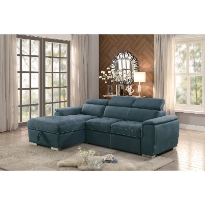 Blue Sectional Sofa with Pullout Sofa Bed and Right-Side Storage ...