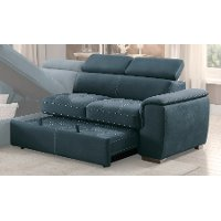 Blue Sectional Sofa With Pullout Sofa Bed And Left Side
