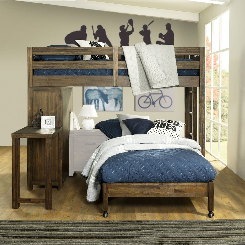 Rustic Brown Twin Loft Bed with Twin Bed on Casters - St. Croix