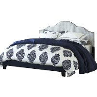 Navy Striped Full Upholstered Bed - Anchor Bay