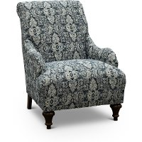 Traditional Indigo Blue Floral Accent Chair - Kelsey