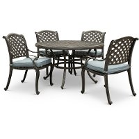 Gray Metal 5 Piece Round Patio Dining Set - Macan