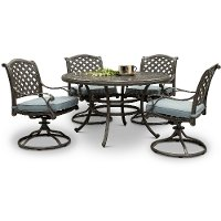 Cast Metal Round 5 Piece Patio Dining Set - Macan