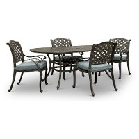 Oval Cast Metal 5 Piece Patio Dining Set - Macan