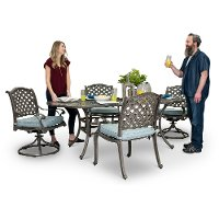 Gray Metal 5 Piece Oval Patio Dining Set - Macan