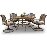 Traditional 5 Piece Patio Hexagon Dining Set - Castle Rock
