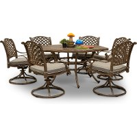 Traditional Brown 7 Piece Patio Dining Set - Castle Rock