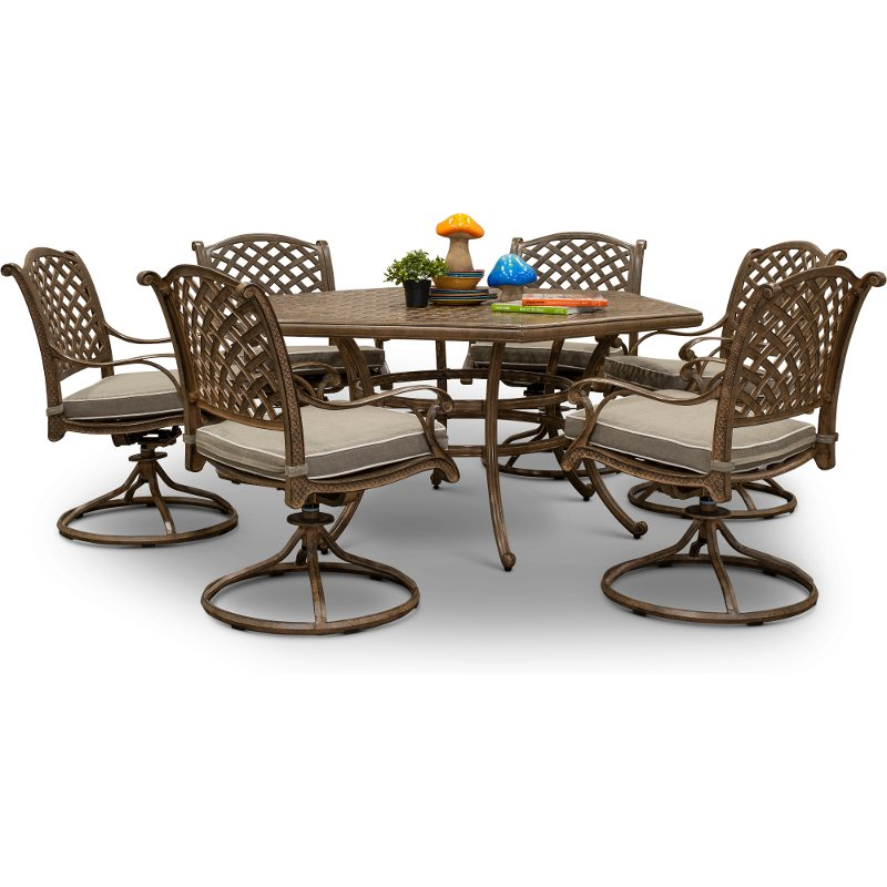 Traditional Brown 7 Piece Patio Dining Set Castle Rock