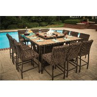 11 Piece Outdoor Fire Pit Patio Dining Set - Franklin