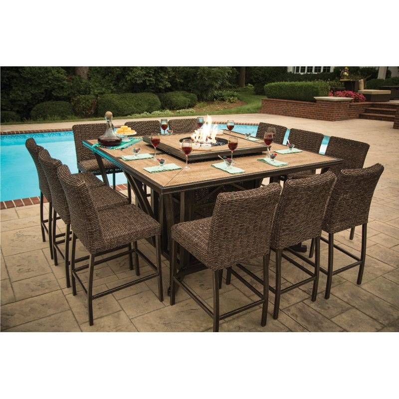 11 Piece Outdoor Fire Pit Patio Dining Set Franklin