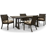 Wicker Brown 5 Piece Patio Dining Set - Davenport