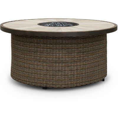 Woven Wicker 54 Inch Round Fire Pit - Oak Grove