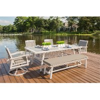 White Washed Outdoor Dining Set - Lake House