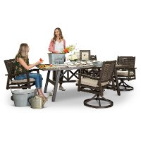 Ash Gray Swivel Chairs Patio Dining Set - Glenwood