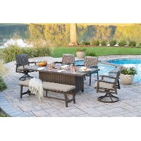 Ash Gray Outdoor Fire Pit Dining Set - Glenwood