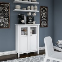 White Bar Cabinet with Wine Storage - Broadview