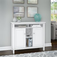 White Accent Table with Storage - Broadview