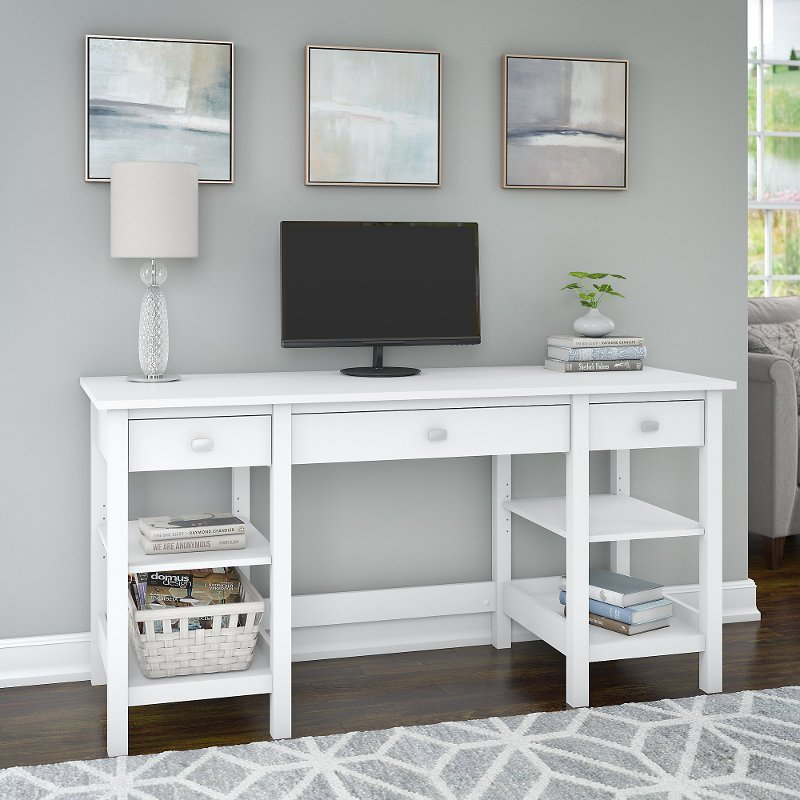 White 60 Inch Home Office Desk - Broadview