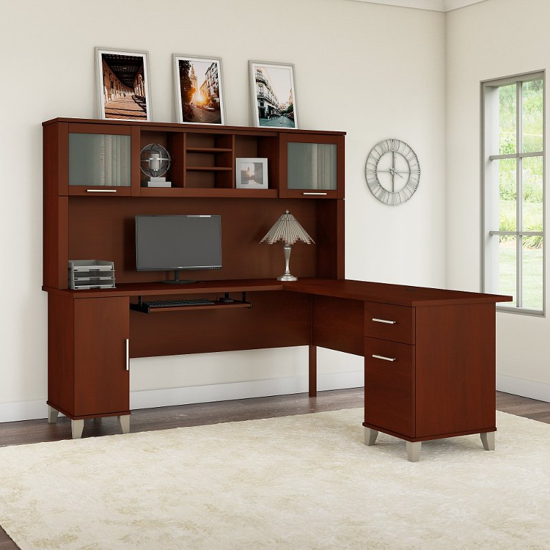 Cherry L Shaped Desk with Hutch - Somerset