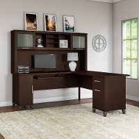 Mocha L Shaped Desk with Hutch - Somerset