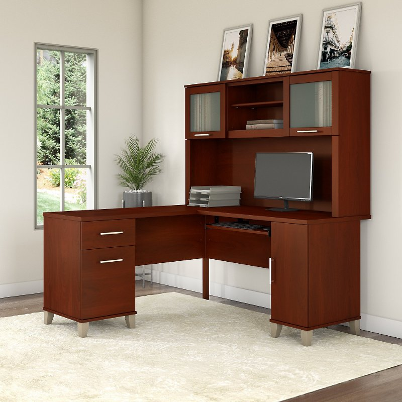 Cherry L Shaped Computer Desk with Hutch - Somerset