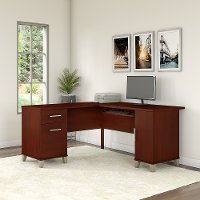 60 Inch Cherry L Shaped Desk - Somerset