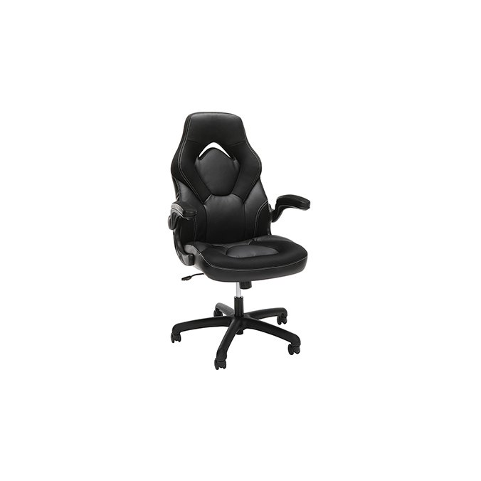 Black and Black Racing Style Leather Gaming Chair - Essentials