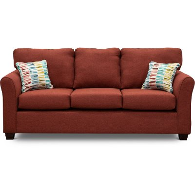 Casual Contemporary Ruby Red Sofa Bed - Wall St.