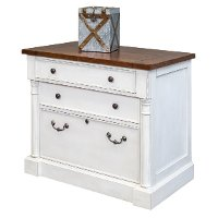 Farmhouse White and Cherry File Cabinet - Durham