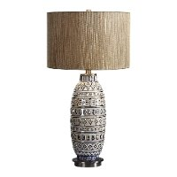 Aged Ivory Ceramic Embossed Tribal Table Lamp