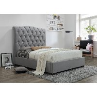 Contemporary Gray Queen Upholstered Platform Bed - Janice