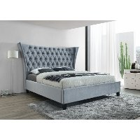Contemporary Light Blue Queen Upholstered Bed - Gabriella