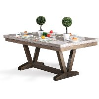 Marble Trestle Dining Room Table - Bridgend