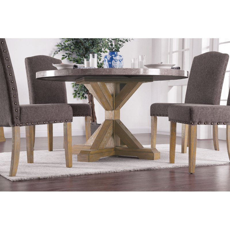 Rustic Marble and Wood X-Base Round Dining Table - Bridgend