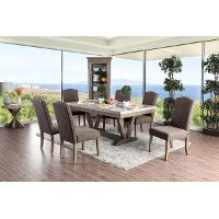 Marble and Wood Trestle 5 Piece Dining Set - Bridgend