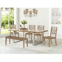 Contemporary Cornsilk 5 Piece Dining Set - Ellis