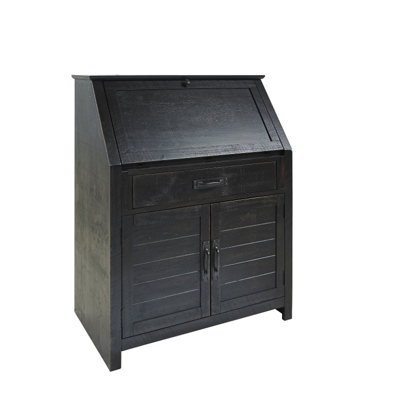 Traditional Drop Lid Home Home Office Desk - Distressed Black